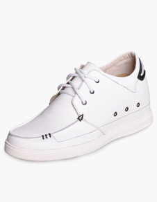 Fashion White Cow Leather Rubber Sole Mens Taller Shoes