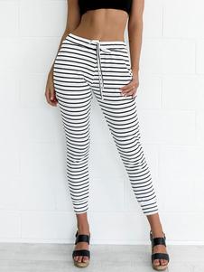 Image of Pantaloni casual 2020 a righe da donna con pantaloni bianchi