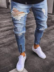 Image of Jeans strappati 2020 Jean taglia forte con cerniera afflitti blu