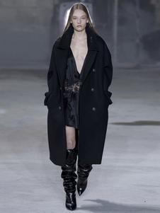 Image of Cappotto di lana oversize da donna Cappotto di pisello nero Capp