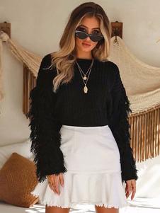 Image of Maglia lavorata a maglia manica lunga con frange da donna