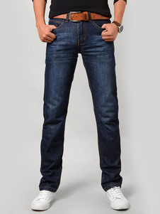 Image of Jeans a gamba dritta Blue Denim Jean per uomo