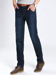 Image of Jeans dritti Denim Jean For Men blu scuro a tinta unita