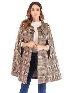 Image of Cappotto di poncho scozzese da donna Cappotto di mantello invern
