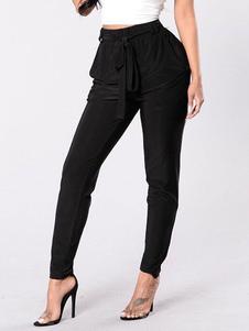 Image of Pantaloni a vita alta Pantaloni affusolati da donna con cinturin