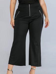 Image of Pantaloni taglie forti per donna Pantaloni in misto cotone nero