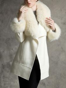Image of Cappotto per donna Cappotto in lana nera retrò in pelliccia sint