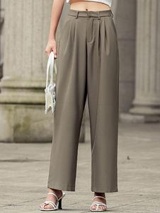 Image of Pantaloni da donna Bottoni marrone caffè Pantaloni a vita alta i