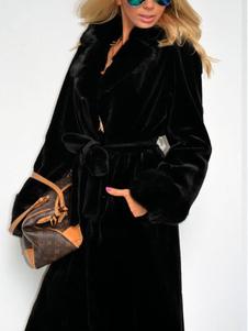 Image of Nero lungo con cintura Wrap cappotto pelliccia cappotto donna pe