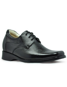 LaceUp Black Cow Leather PVC Sole Elevator Shoes For Men