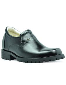Formal Black Cow Leather Rubber Sole Mens Elevator Shoes