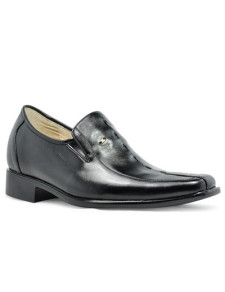 Classic Black Cow Leather PVC Sole Height Increasing Shoes For Men