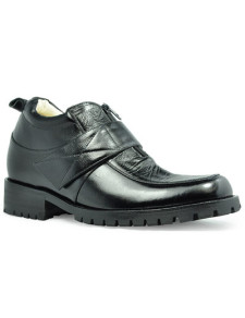 Fashion Black Cow Leather Rubber Sole Mens Elevator Shoes