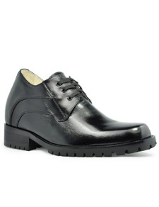 Formal Black Cow Leather LaceUp Rubber Sole Increasing Height Shoes For Men