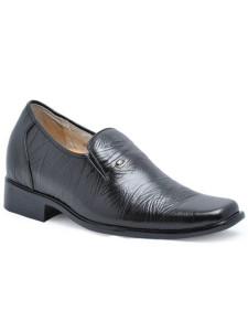 Black Cow Leather PVC Sole Mens Elevator Shoes