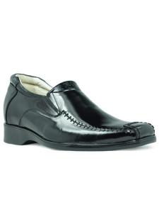 Unique Black Cow Leather PVC Sole Mens Elevator Shoes