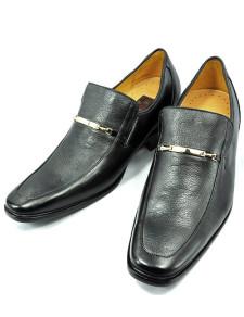 Comfortable Black Cow Leather PVC Sole Mens Taller Shoes
