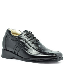 Casual Black Cow Leather PVC Sole Mens Taller Shoes