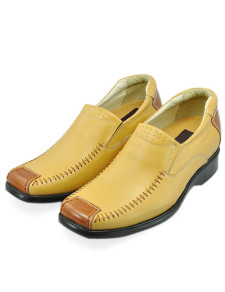 Gorgeous Yellow Cow Leather PVC Sole Mens Elevator Shoes