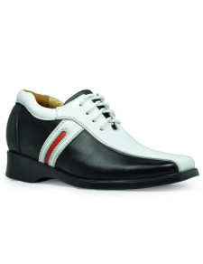 Casual Black Cow Leather PVC Sole Height Increasing Shoes For Men