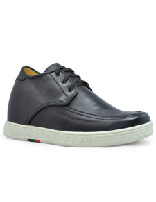 Popular Black Cow Leather Rubber Sole Mens Elevator Shoes
