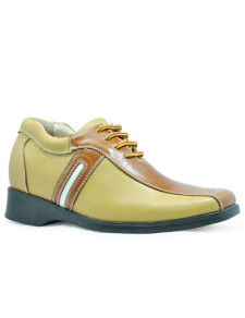 Fashion Yellow Cow Leather PVC Sole LaceUp Mens Elevator Shoes
