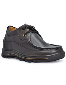 Casual Brown Cow Leather LaceUp Rubber Sole Mens Elevator Shoes