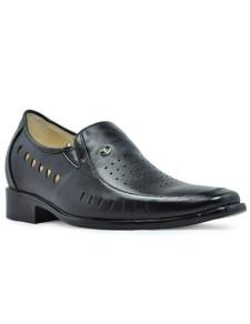 Black Cow Leather PVC Sole Mens Taller Shoes