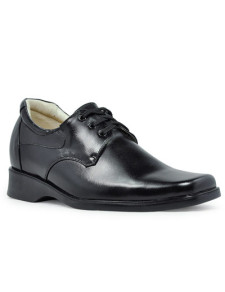 Classic LaceUp Black Cow Leather PVC Sole Mens Elevator Shoes