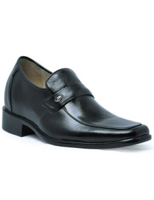Official Black Cow Leather PVC Sole Mens Height Increasing Shoes