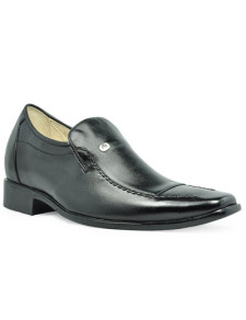 Formal Black Cow Leather PVC Sole Mens Height Increasing Shoes