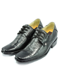 LaceUp Black Cow Leather PVC Sole Height Increasing Shoes For Men