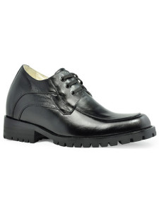 Formal Black Cow Leather LaceUp Rubber Sole Mens Elevator Shoes