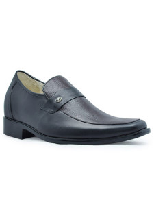 Official Black Cow Leather PVC Sole Mens Taller Shoes