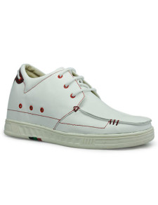 Trendy White Cow Leather Rubber Sole Mens Elevator Shoes