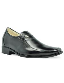 Concise Black Cow Leather PVC Sole Mens Elevator Shoes