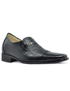 Popular Black Cow Leather PVC Sole Mens Taller Shoes