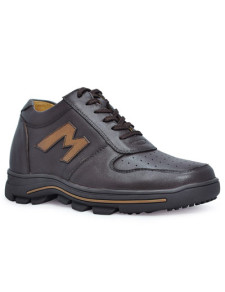 Sport Brown Cow Leather LaceUp Rubber Sole Elevator Shoes For Men