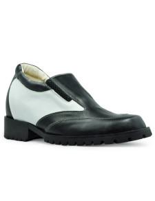 Unique Black Cow Leather Rubber Sole Mens Elevator Shoes