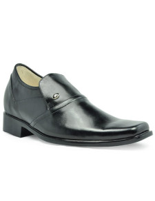 Classic Black Cow Leather PVC Sole Mens Taller Shoes