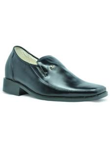 Official Black Cow Leather PVC Sole Taller Shoes For Men