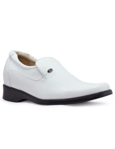 Handsome White Cow Leather PVC Sole Mens Height Increasing Shoes