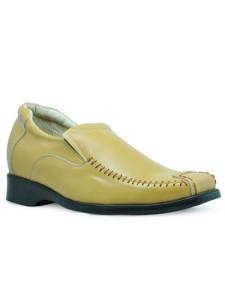 Unique Yellow Cow Leather PVC Sole Mens Elevator Shoes