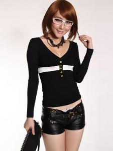 Hot Black Imitated Leather Rivet Decoration Womens Shorts