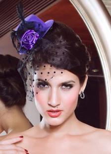 Purple Black Flower Decoration Net Womens Hair Hat