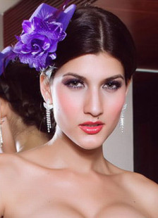 Purple Glamorous Net Hair Flower Hat