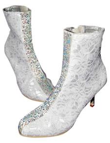 Gorgeous Ivory Zip Round Toe Lace Bridal Wedding Boots