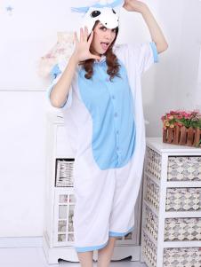 Blue White Pig Pattern Cotton Kigurumi Costume