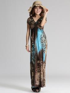 Elegant Blue Short Sleeves VNeck Poplin Maxi Dress