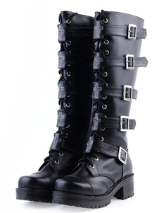 Black PU Lace Up Buckle Knee High Lolita Boots